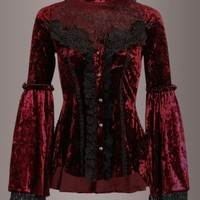 Fairy Tale Burgundy Victorian Peasant Velvet Top with Bell Sleeves