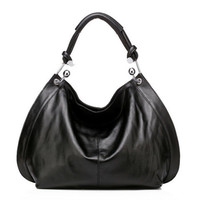 Vicenzo Leather Amelia Italian Leather Hobo Handbag - Black
