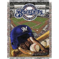 """Milwaukee Brewers MLB Woven Tapestry Throw (Home Field Advantage) (48""""x60"""")"""