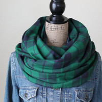 Plaid Infinity Scarf, Black Watch Plaid Scarf, Winter Scarf, Loop Scarf, Mens Scarf, Womens Scarf, Valentine's Day Gift, Gift for Him
