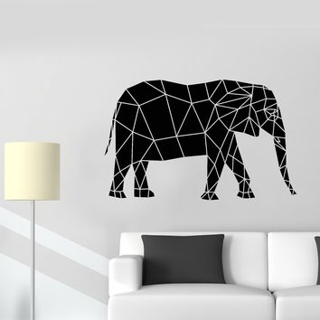 Vinyl Wall Decal Geometric Abstrac African Elephant Animal Stickers (2499ig)