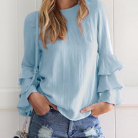 Fashion Solid Long Ruffle Sleeve Pullover Blouse - NOVASHE.com