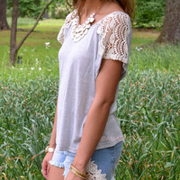 St. Lucia Gray Lace Sleeve Top
