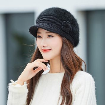 69a3dfe1ffe71 Beret Women Rabbit Fur Warm Winter Cap With Visor Elegant Floral
