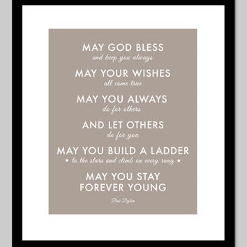 Parenthood Theme Song - Forever Young by Bob Dylan - gift for baby - nursery art - 8x10 Print (Taupe)