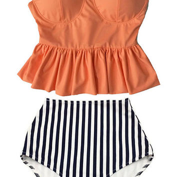 Old Rose Long Peplum Hem Top and Stripes High waisted waist Bottom Bikini set Swimsuit Swimwear Beach Swim wear Bathing suit dress S M L XL