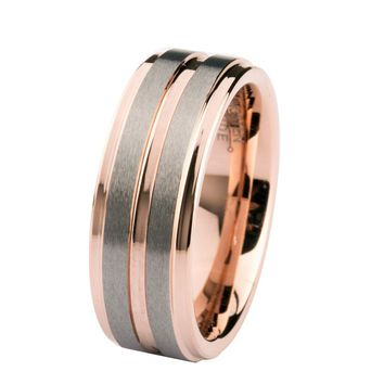 Rose Gold Tungsten Band with Double Silver Stripe