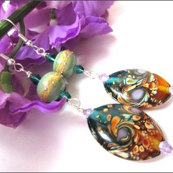 Green Purple Blue Brown Swirl Lampwork Silver Swarovski Earrings