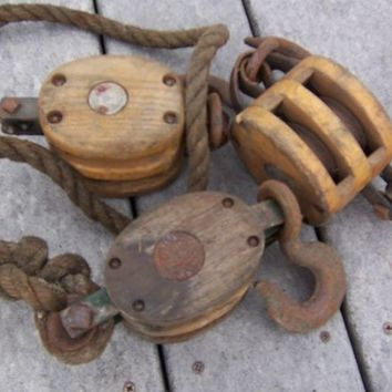 Antique wood pulleys