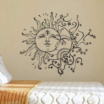 Wall Decal Sun Moon Crescent Dual Ethnic Stars Night Symbol Sunshine Vinyl Sticker Decals Art Home Decor Wall Mural Fashion Bedroom