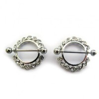 Nipple Ring CZ Diamond Gem Bar Bell Shield 14G | UrbanBodyJewelry.com