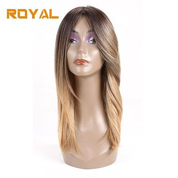 Royal Long Straight Hair Ombre Hair Wigs For Black Women 100% Human Hair #27 Color 12Inches Non-Remy