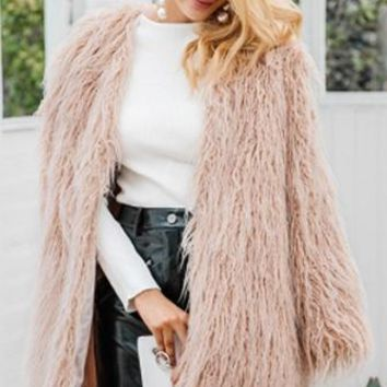 Fur-Ever Long Sleeve Faux Fur Open Front Shaggy Jacket - 4 Colors Available