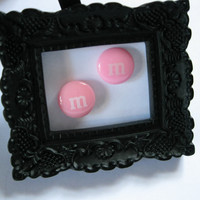 Pink earrings Pastel pink studs Tween and Teen gift M&M cabochon Chocolate candy Americas favorite candy tiny studs cute earring posts