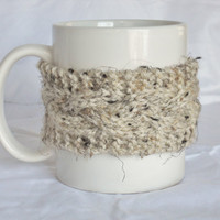 Cream Coffee Cozy, Cup Sleeve, Cable Knit Mug Cozy by MadebyMegShop