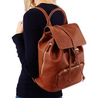 Double Zip Backpack Cognac