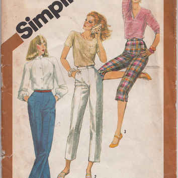 "1980s Pants, Pedal Pushers, Capri, Flood or Ankle Length Flat Front Pants Sewing Pattern Simplicity 5148 Waist 30"" Vintage"