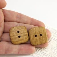 Natural wood buttons. Set of 6 square oak wood buttons size 1 in (25mm) - O7904