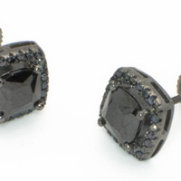 Black CZ Stud Earrings Screwback Sterling Silver Micropave 8mm Square ASC Brand