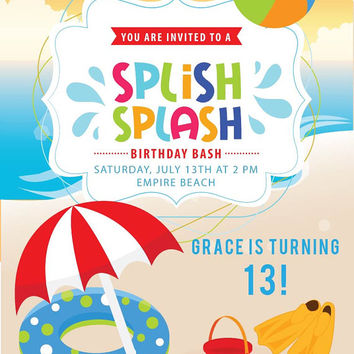 Beach Invitation | Boys or Girls Beach Party Invite | Printable Birthday Invitations