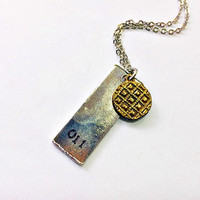 Eleven's Necklace: 11 bar tag and Eggo waffle charm