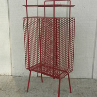 Small Metal Table Red Drink Stand Magazine Rack Vintage Bookshelf Living Room Mid Century Modern Home Decor Painted Furniture End Table