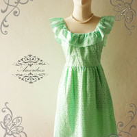 Amor Vintage Inspired Cutie Princess Pastel Lime Green Lace Dress Wedding Prom Party Dress for Any Occasion - Size XS-S-