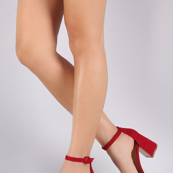 Bamboo Suede Ankle Strap Flared Heel