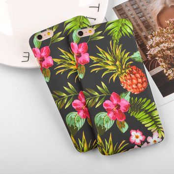 Plants Pineapple Leaf Phone Case For iphone X 5 6 6S 7 8 Plus Oil painting Cover