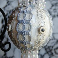 """Salma""  USA Handcrafted Beaded Victorian Christmas Ornament"