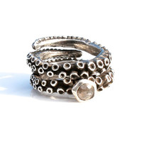 Beautiful Octopus tentacle Wedding Ring set with Rose Cut Diamond Set In solid Sterling Silver by Zulasurfing