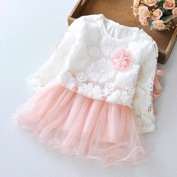 Girl Dress Sleeved Cotton Lace Voile children 0-2 years