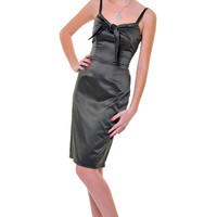 Olive Satin Pucker Up Bow Dress