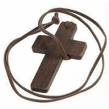 New Retro Men Women Brown Plate Cross Pendant Christian Religious Wooden Wood Necklace Adjustable Leather Cord Jewelry
