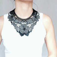 black lace bib necklace //  floral lace collar // gold chain // art deco jewelry // gift for her