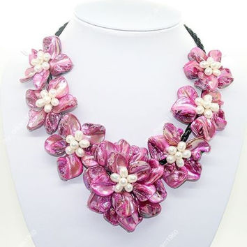 """Hot sale new Style >>>>>Natural Rose red Mother of Pearl Shell Weave Flower Pendant Necklace 18"""" Jewelry"""