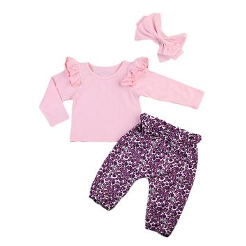 Newborn Infant Baby Girls Pink T-shirt Tops Long Floral Pants Leggings  Baby Girls Clothes  New Arrival Outfits Clothes Set