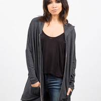 Side Slit Zip Down Jacket - Charcoal - Small