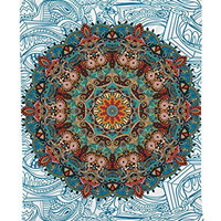 Hippy Room Decorations Asian Decor Bohemian Colorful Mandala Oriental Traditional Design Indian Hippie Tapestry Wall Hanging Art Work for Home Living Room Bedroom Decor, Teal Turquoise Mustard Beige