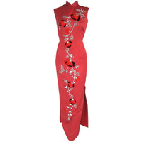 1960s Asian Red Tufted Velvet Roses Silver Sequins Cheongsam Long Dress