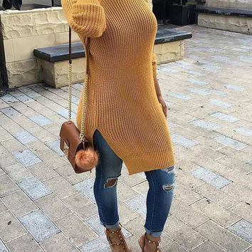 New Yellow Lace-up Long Sleeve Round Neck Casual Sweater Midi Dress