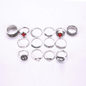 Red Stone Ring Set