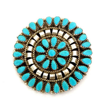 Early N&R Nez Petit Point Turquoise and Sterling Brooch/Pendant, Navajo Silversmiths, Cluster Radial Design, Dimensional Silver, Hand Marked