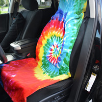 The Undercover in Rainbow Tie Dye - on the driver seat.