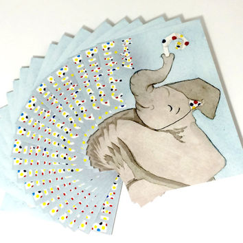 Pack of 20 Cute Elephant Baby Birthday Postcards, Twenty baby's birthday card, happy elephant birthday card, polka dot animal birthday cards