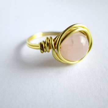 Rose Quartz Wire Wrapped Ring, Gemstone Wire Ring, Pink Wire Ring, Wire Wrapped Ring, Mother's Day