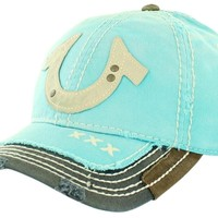 True Religion Women's Horse Shoe Distresses Trucker Hat Cap:Amazon:Clothing