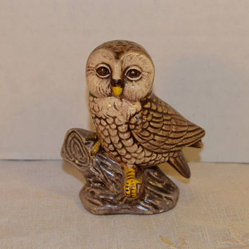 Miniature Owl on Branch Figurine Vintage Owl Sculpture Vintage Bird Figurine Fairy Garden Owl Wildlife Sculpture Hoot Owl Shelf Sitter