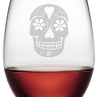 Day of the Dead Stemless Wine Glasses ~ Set of 4