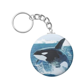 Jumping Orca Killer Whale Illustration Keychain